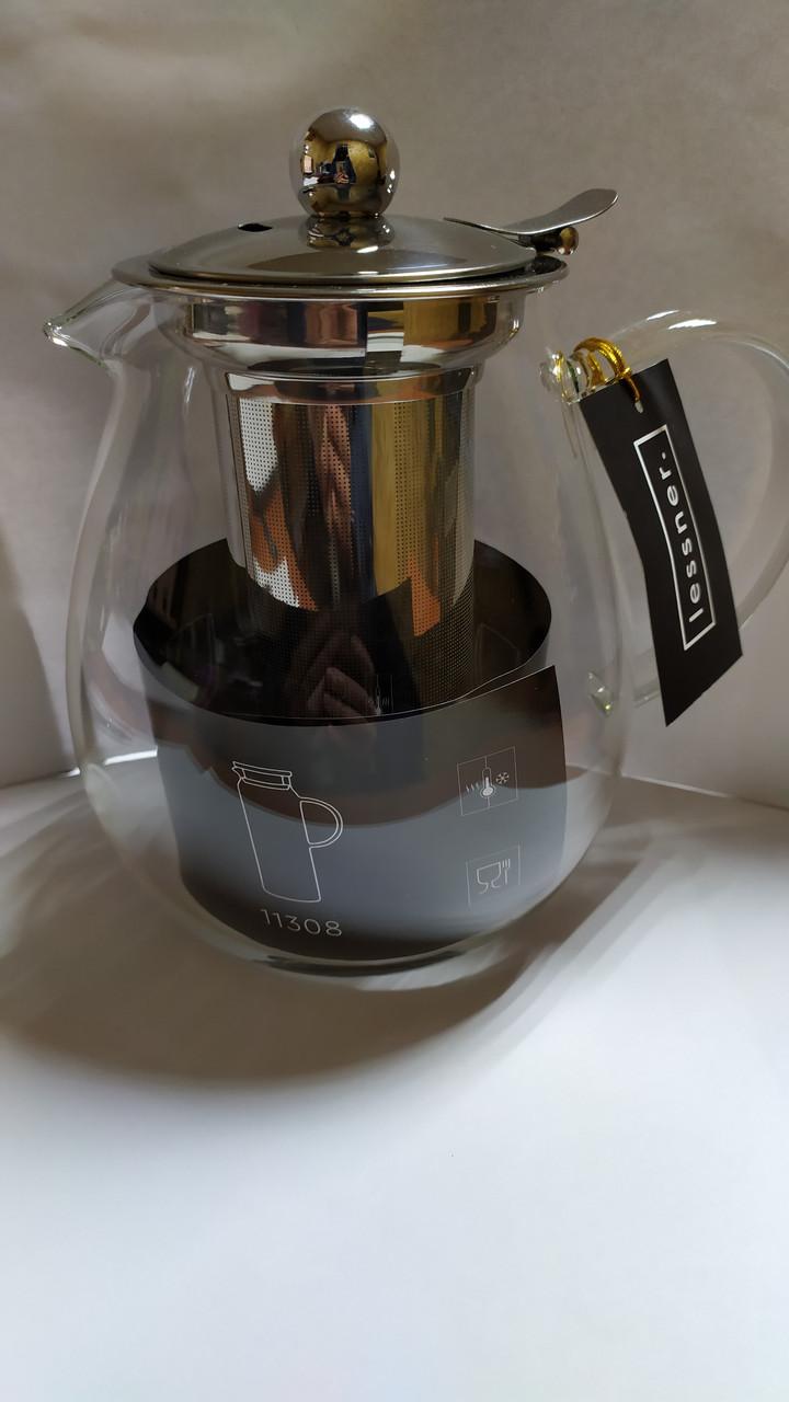 Скляний Чайник з метал фільтром Lessner 1,2 л.