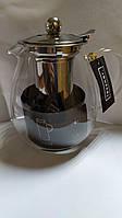 Скляний Чайник з метал фільтром Lessner 1,2 л., фото 1