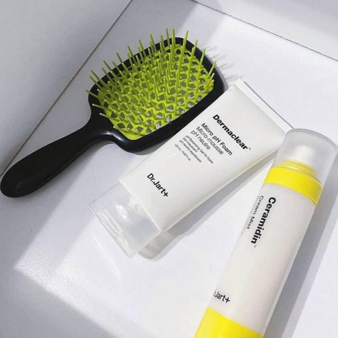 Расческа для волос Janeke 1830 Superbrush, чёрная с зелёным
