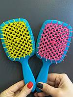 Расческа для волос Janeke 1830 Superbrush, бирюза с жёлтым