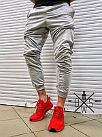 Мужские стильные спортивные штаны (серые) с манжетом внизу