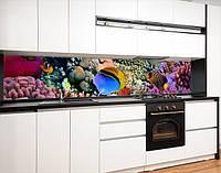 Кухонний фартух замінник скла з морською флорою, на двосторонньому скотчі 68 х 305 см