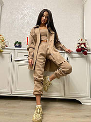 Женский базовый костюм тройка свободная рубашка, штаны свободного кроя и топ