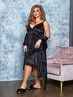 Красивый бархатный женский комплект пеньюар ночная сорочка и халат с кружевом чёрный 48-50 52-54 56-58 60-62