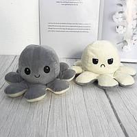 Милая мягкая игрушка осьминог-перевертыш, двухсторонний осьминог, плюшевая игрушка серо-белого цвета