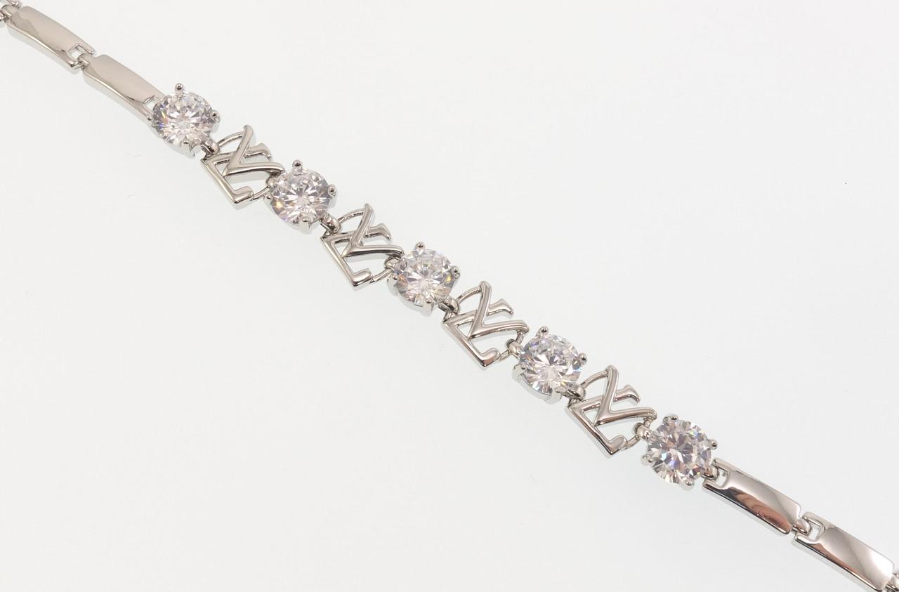 """Браслет СМ Родий """"Кристаллы с эмблемой Louis Vuitton"""" размер 18,5см х 4-8мм"""