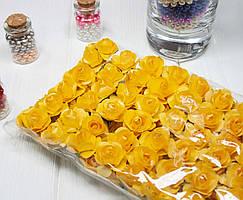 (ОПТ,12 букетиков) Роза бумажная 1,5см (144 шт) Цвет - Желтый