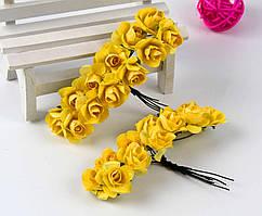Роза бумажная 1,5см (букет 12шт) Цвет - Желтый
