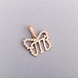 """Золотий кулон-літера """"Т"""" П570-Т"""