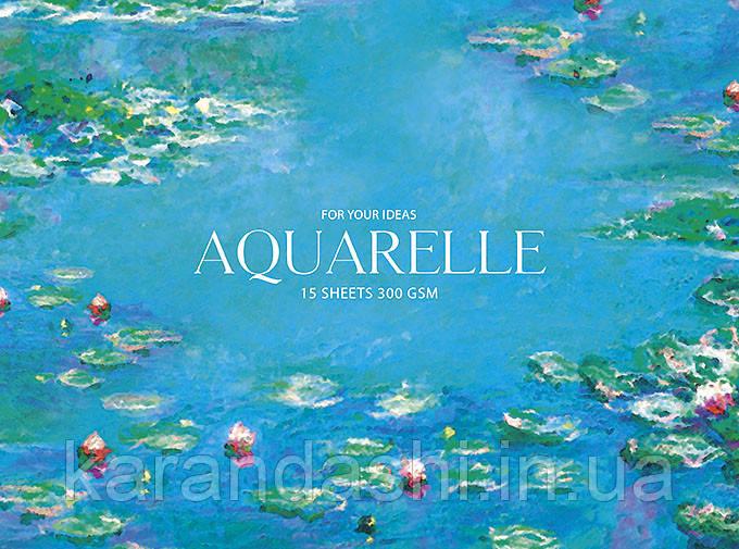"""Блок для акварелі Aquarelle """"MUSE"""" А5+, 15 аркушів, 300 гр/кв.м, на склейці, целюлоза PB-GB-015-054"""
