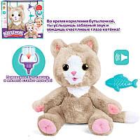 Интерактивная плюшевая игрушка Котенок для детей Jia Du Toys издает звуки и говорит на русском языке Бежевый, фото 1