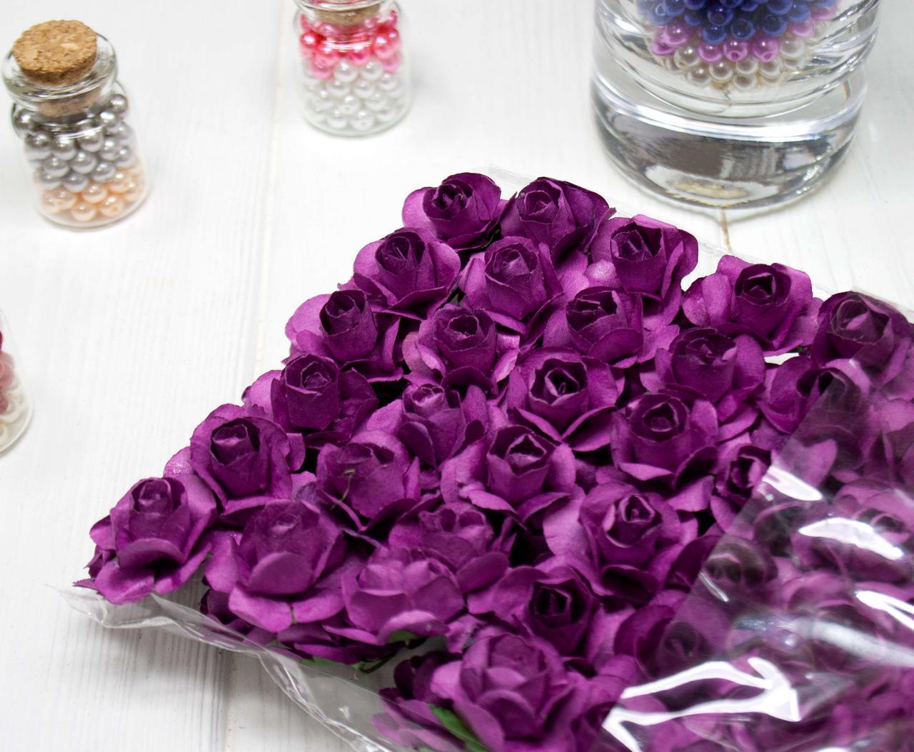 (ОПТ,12 букетиків) Роза паперова 1,5 см (144 шт) Колір - Айворі