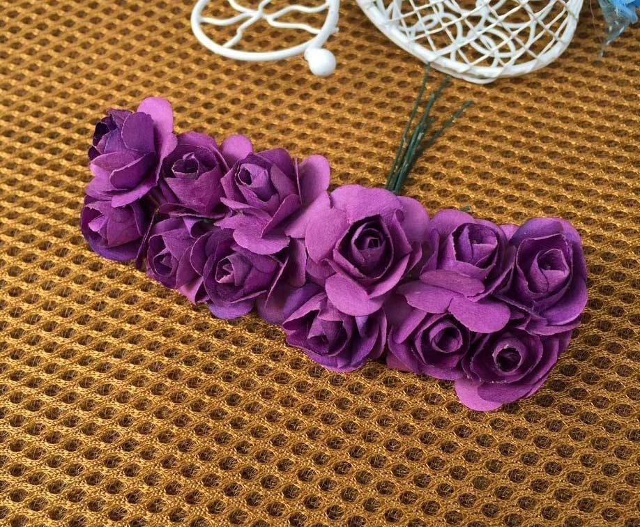 Роза паперова 1,5 см (букет 12шт) Колір - Айворі