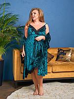Красивый бархатный женский комплект пеньюар ночная сорочка и халат с кружевом изумруд 48-50 52-54 56-58 60-62