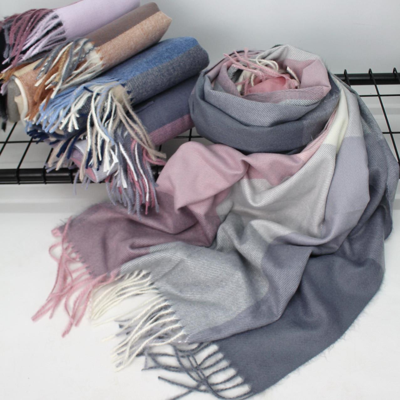 """Кашемировый теплый шарф палантин в клетку """"Лана"""" Cashmere 138001"""