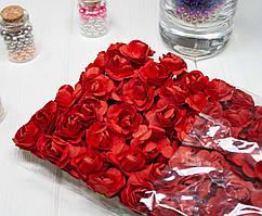 (ОПТ,12 букетиков) Роза бумажная 1,5см (144 шт) Цвет - Красный