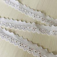 Прошва (шиття) біла вузька з квітковою перфорацією, ш. 3 см, фото 1