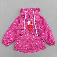 """Детская ветровка для девочки весенняя """"Стрекоза"""" розовая на флисовой подкладке c капюшоном"""