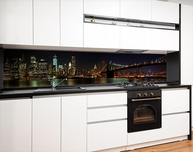 Кухонный фартук заменитель стекла ночной мост в Бруклине, с двухсторонним скотчем 62 х 205 см