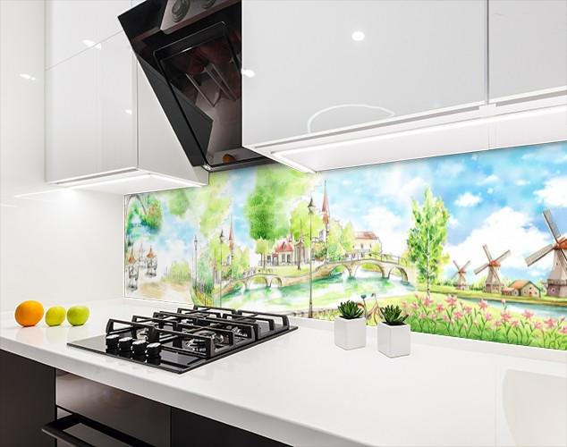 Кухонная плитка на кухонный фартук пейзажи городские рисованные, с двухсторонним скотчем 62 х 205 см