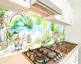 Кухонная плитка на кухонный фартук пейзажи городские рисованные, с двухсторонним скотчем 62 х 205 см, фото 3