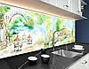 Кухонная плитка на кухонный фартук пейзажи городские рисованные, с двухсторонним скотчем 62 х 205 см, фото 4