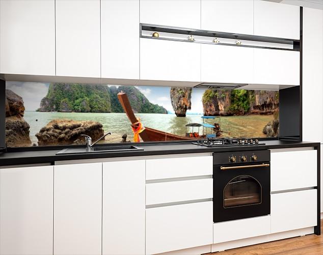 Кухонная панель на стену жесткая Азия острова, с двухсторонним скотчем 62 х 205 см