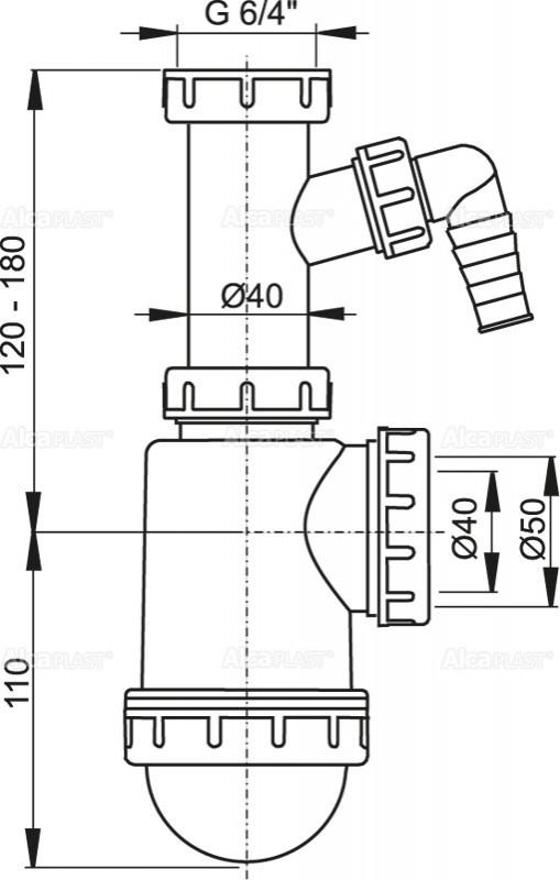 """Сифон для мийки з накидною гайкою 6/4"""" і підводкою"""
