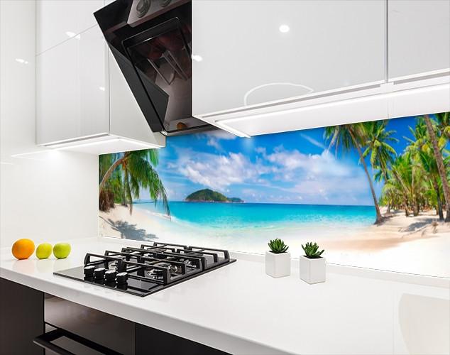 Панели на кухонный фартук ПЭТ берег у океана, с двухсторонним скотчем 62 х 205 см