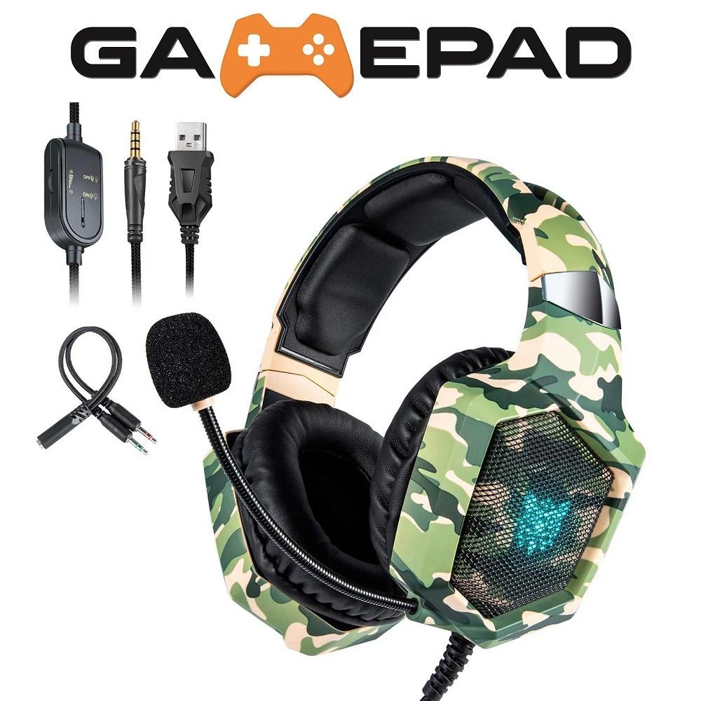 Игровые наушники с микрофоном ONIKUMA K8 Camouflage Green с LED подсветкой / Геймерские наушники с гарнитурой