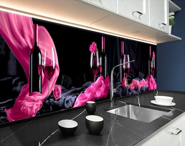 Кухонная плитка на кухонный фартук бокал с вином, с двухсторонним скотчем 62 х 205 см