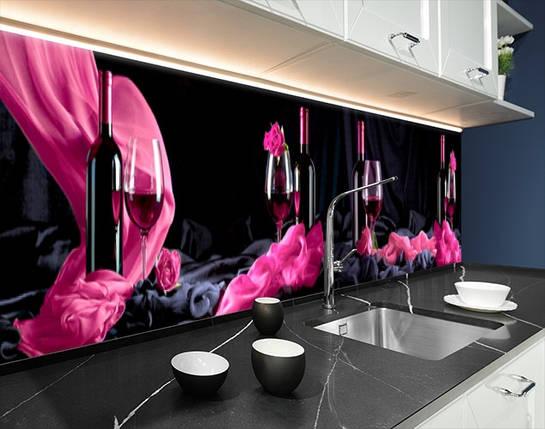 Кухонная плитка на кухонный фартук бокал с вином, с двухсторонним скотчем 62 х 205 см, фото 2