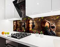 Панелі на кухонний фартух ПЕТ винний льох на дегустації, з двостороннім скотчем 62 х 205 см