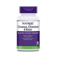 Корица для снижения сахара с биотином (Cinnamon, Chromium & Biotin) ТМ Natrol / Натрол 60 таблеток
