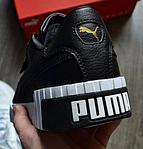 Женские весенние кроссовки Puma cali (черно-белые) спортивные демисезонные кеды, фото 4