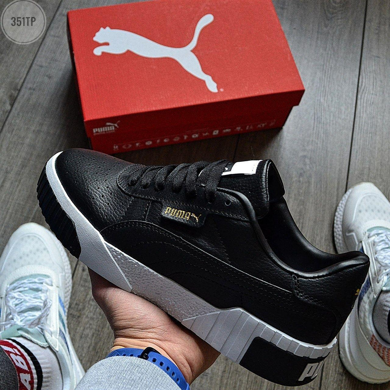 Женские весенние кроссовки Puma cali (черно-белые) спортивные демисезонные кеды