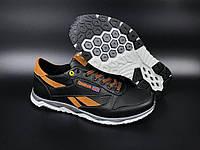 Кожаные мужские кроссовки Reebok демисезонные обувь в стиле Рибок черные с рыжим