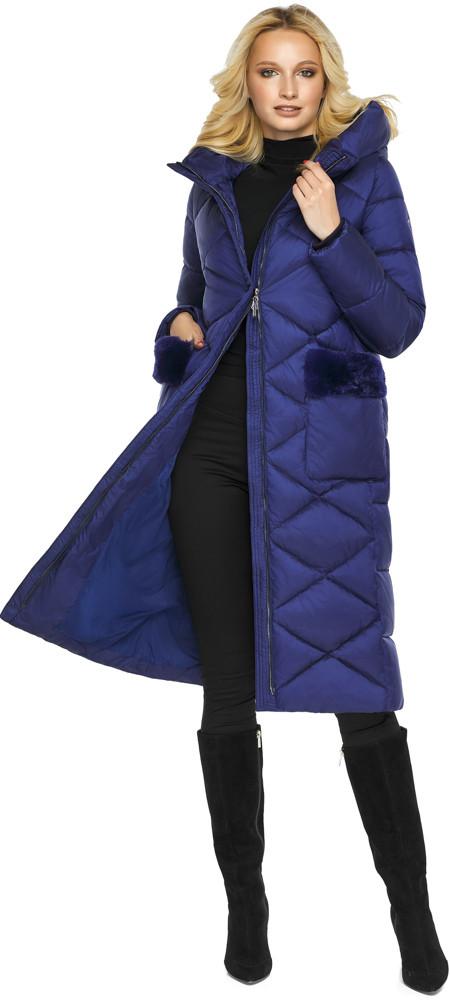 Куртка женская зимняя теплая цвет синий бархат модель 45230