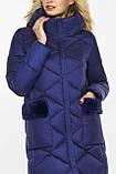 Куртка женская зимняя теплая цвет синий бархат модель 45230, фото 7