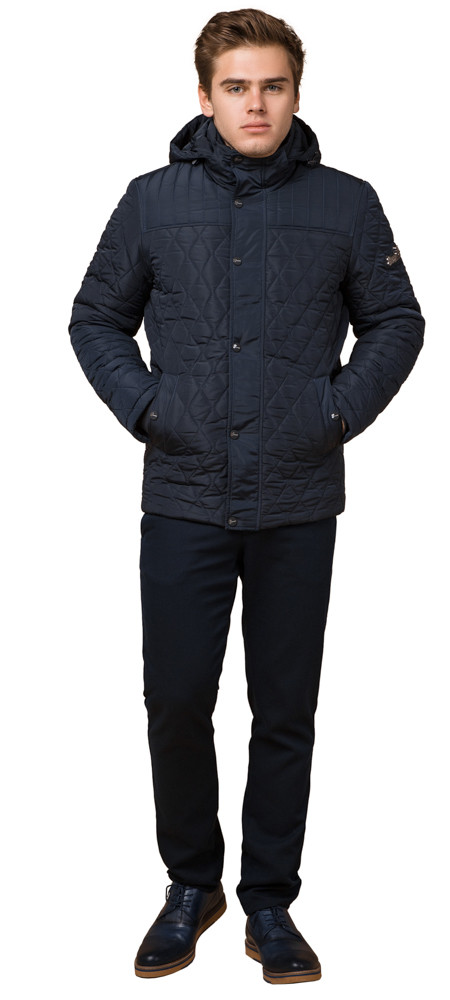 Стёганая зимняя куртка на мужчину синяя модель 24534