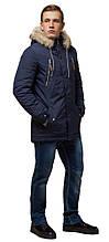 Синяя зимняя короткая парка для мужчин модель 14015 (ОСТАЛСЯ ТОЛЬКО 46(S))