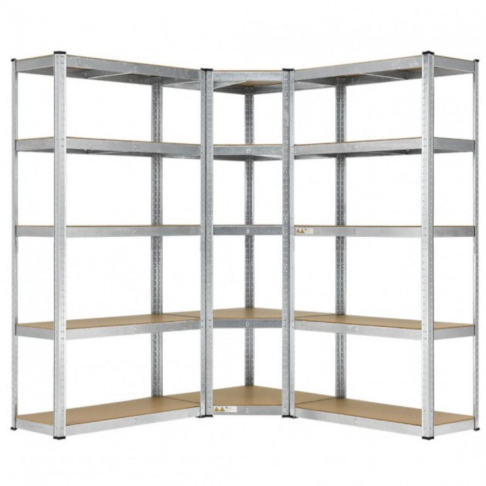 Кутовий металевий стелаж Siker потрійний на 15 полиць для гаража (Кутовий металевий стелаж вітрина)