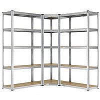 Кутовий металевий стелаж Siker потрійний на 15 полиць для гаража (Кутовий металевий стелаж вітрина), фото 1
