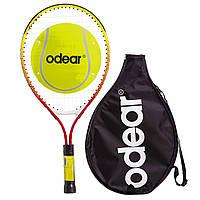 Алюмінієва тенісна ракетка для великого тенісу дитяча (6-7 років) 21 дюйм ODEAR Червоний (BT-5508-21)