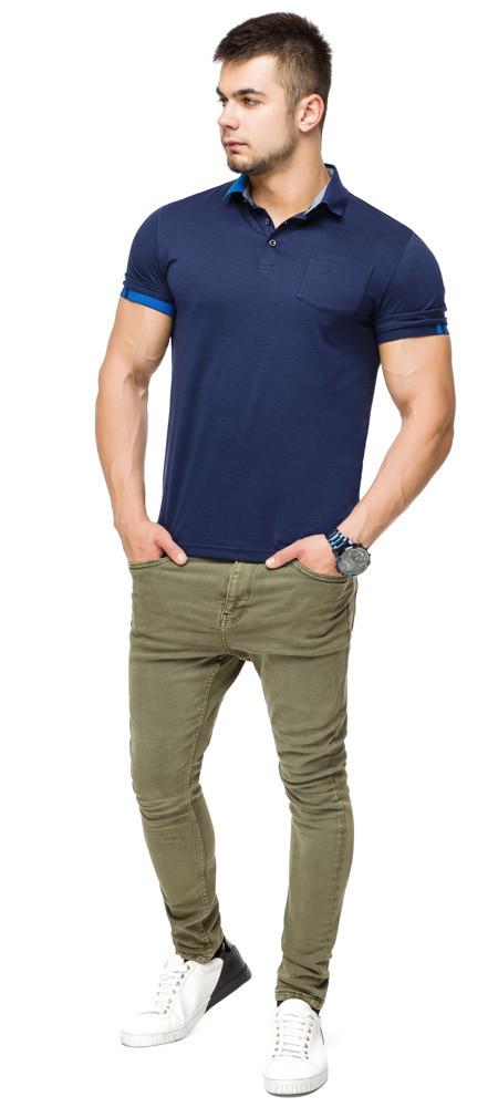 Брендовий футболка поло чоловіча колір темно-синій-блакитний модель 6073