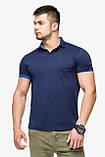 Брендовий футболка поло чоловіча колір темно-синій-блакитний модель 6073, фото 3