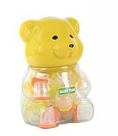 Соска силиконовая в контейнере с крышкой Baby Team Набор 45 сосок в банке Медведь AKT-2030