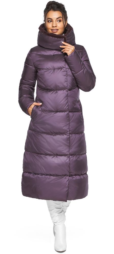 Куртка зимняя женская теплая цвет баклажан модель 45085