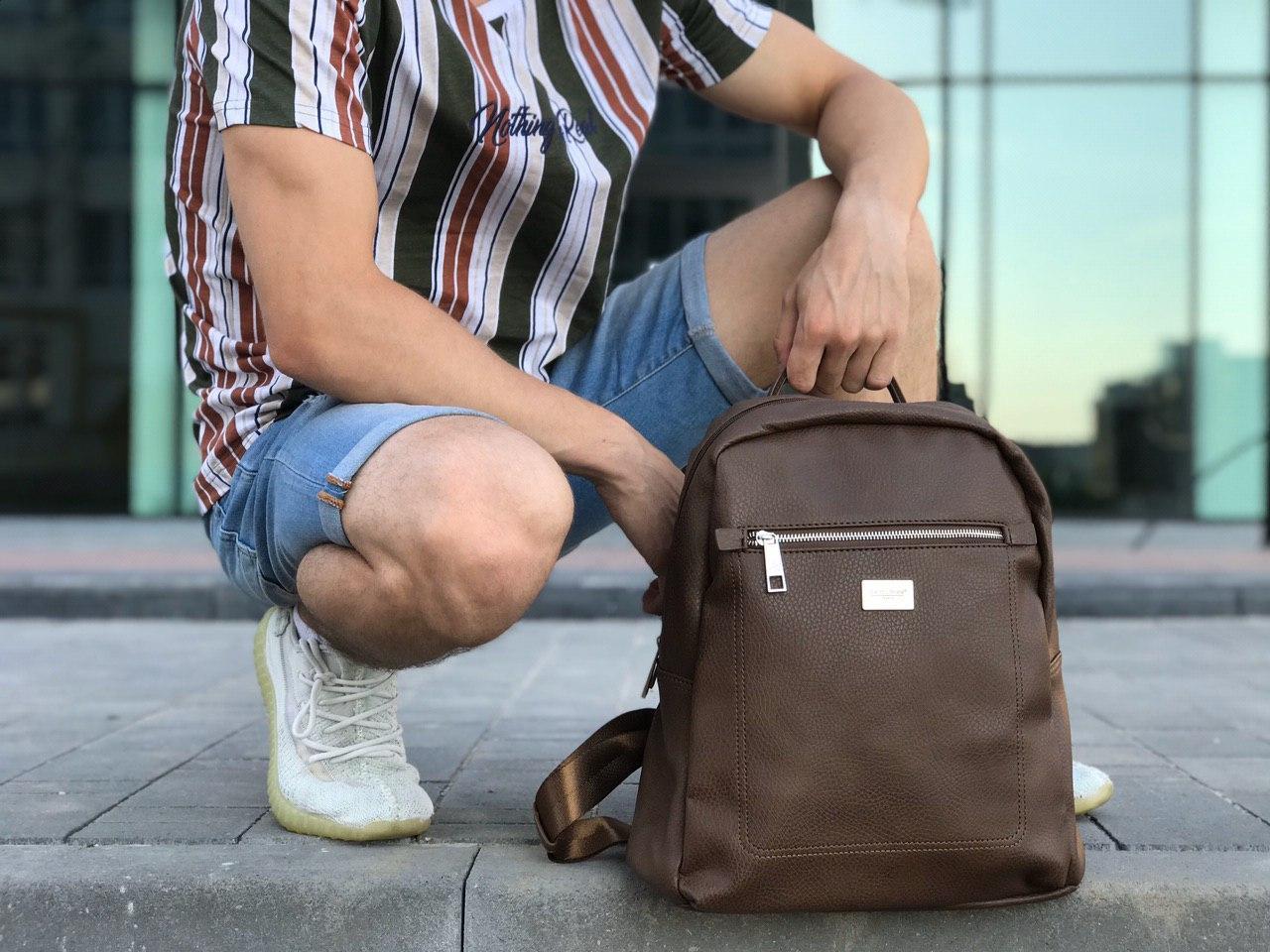 Шкіряний рюкзак David Jones коричневий
