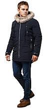 Парка мужская темно-синяя на молнии зимняя модель 15231